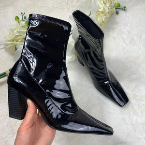 Zara Patent Effect Square Toe Ankle boots Sz. 6